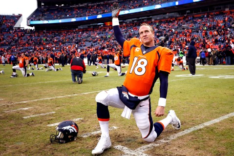Denver Broncos quarterback Peyton Manning (18) stretches prior to an NFL divisional playoff football game against the Indianapolis Colts , Sunday, Jan. 11, 2015, in Denver. (AP Photo/Jack Dempsey)