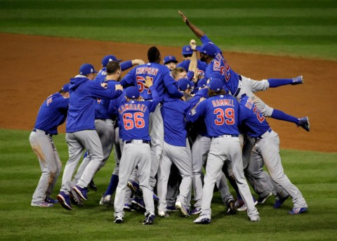 The Chicago Cubs celebrate after Game 7 of the Major League Baseball World Series against the Cleveland Indians Thursday, Nov. 3, 2016, in Cleveland. The Cubs won 8-7 in 10 innings to win the series 4-3. Gene J. Puskar, The Associated Press